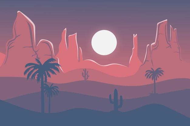 午後の平らな風景の美しい砂漠は灰色がかった赤です