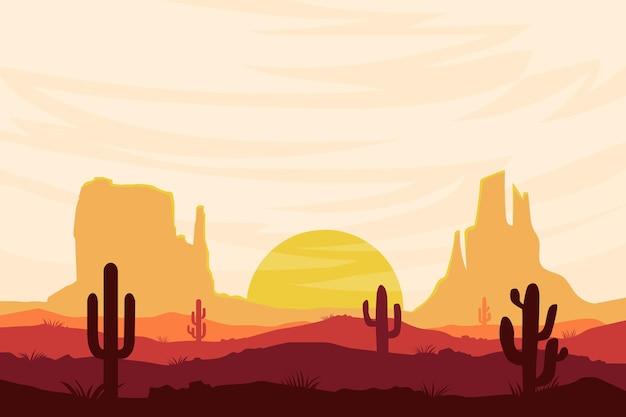 昼間の自然の平らな風景美しい砂漠