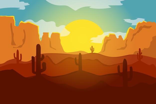 サボテンと平らな風景の美しい砂漠