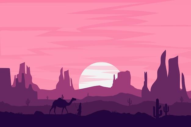 평평한 풍경 아름다운 사막 자연 산 바위