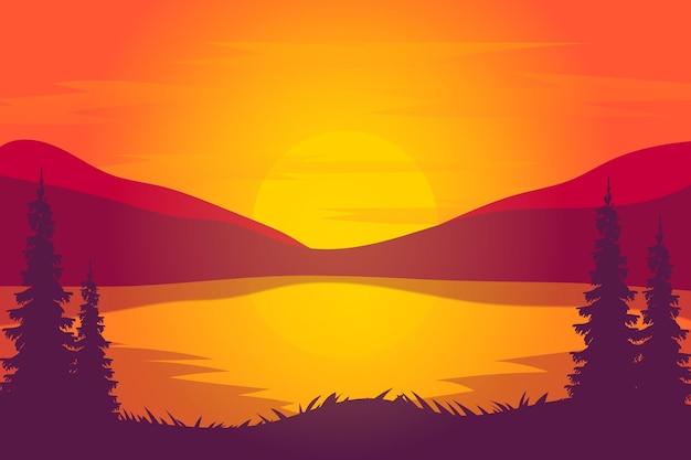 Плоский пейзаж красивое озеро на закате с ярко-оранжевым и красным цветом