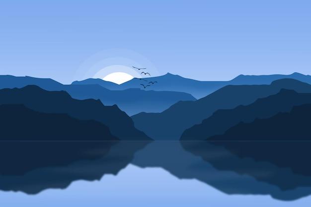 아침 일출에 평평한 풍경 아름다운 호수 산