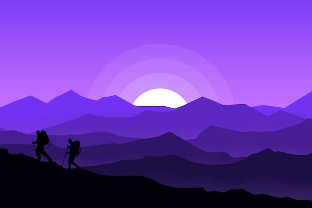 Плоский пейзаж красивых альпинистов ночью