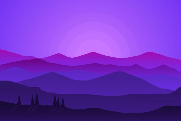 Плоский пейзаж красивая горная природа ночью с ярким солнцем