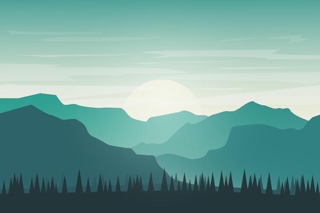 Плоский пейзаж красивая горная природа ярко-зеленый утром