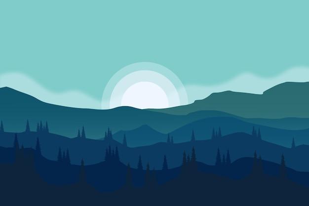 Плоский пейзаж красивая горная природа в прекрасную ночь
