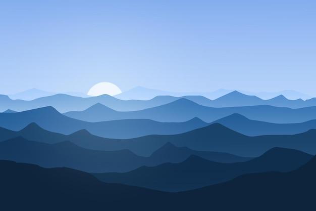 Плоский пейзаж красивая горная природа солнечным утром
