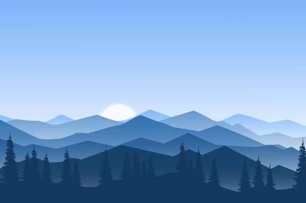 Плоский пейзаж красивая гора природа восход солнца