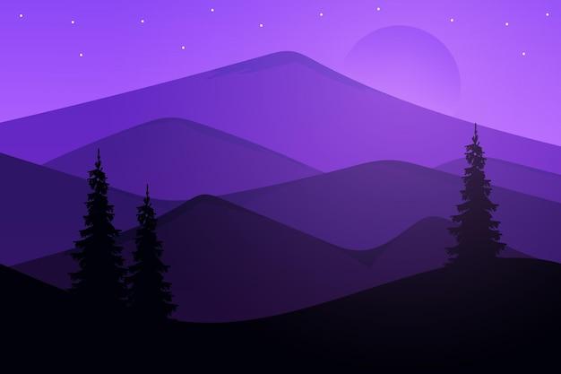Плоский пейзаж красивых гор ясными вечерами