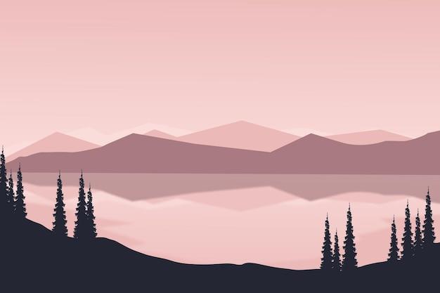 Плоский пейзаж красивое природное горное озеро утром