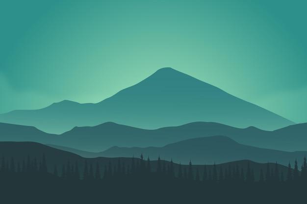 Плоский пейзаж красивые природные горы густой сосновый лес ночью