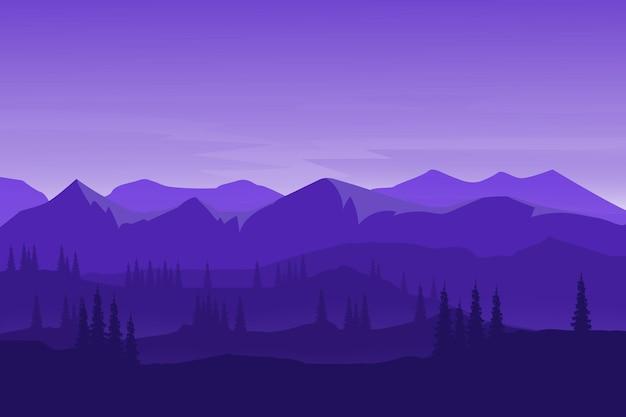 平坦な風景美しい自然の山々密な松林
