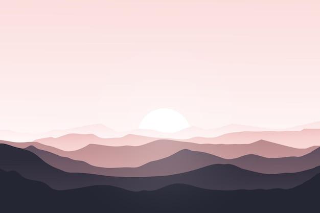 Плоский пейзаж красивое солнце утром горы природа