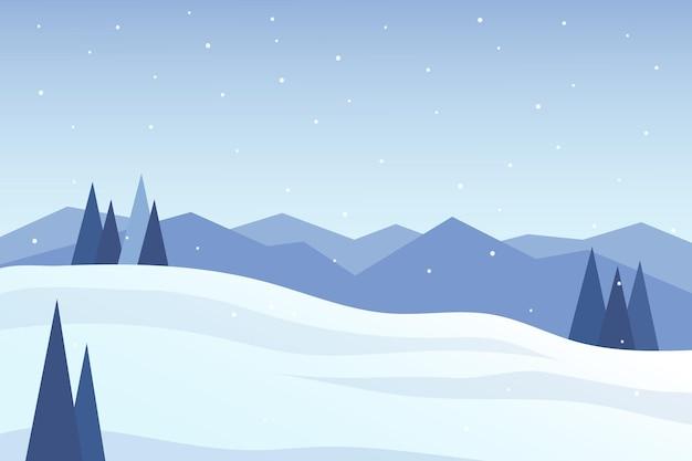 Плоский пейзаж красивые белые горы в зимней природе