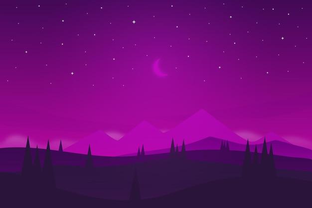 Плоский пейзаж ясное небо ночью красиво с горами
