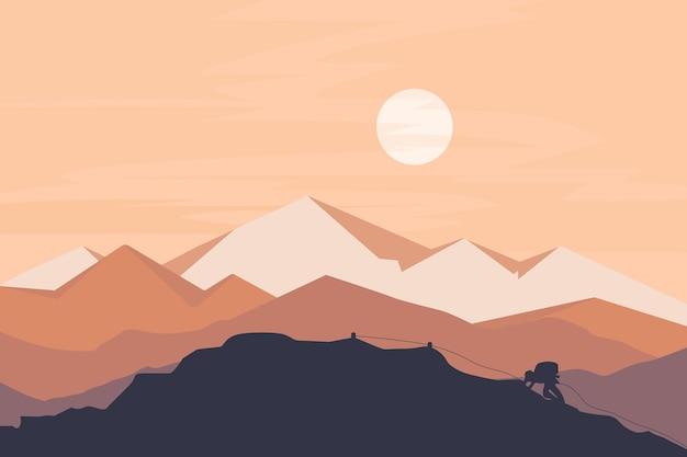 Альпинисты, поднимающиеся на гору после полудня