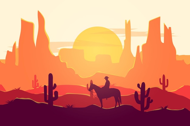 Flat landscape cowboy desert nature beautiful atmosphere during the day