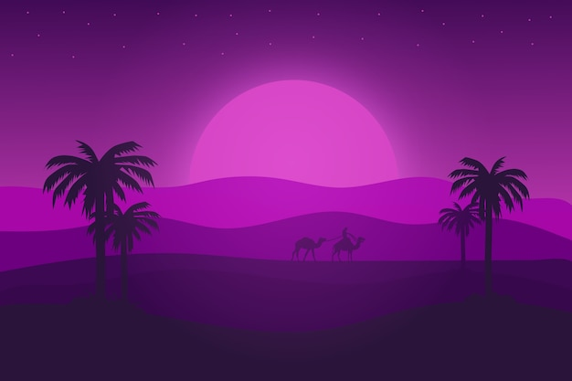 Flat landscape desert in the afternoon with a very beautiful purple gradient