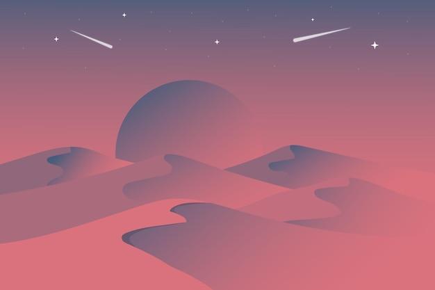 밤의 평평한 풍경 사막은 밝은 회색 분홍색으로 아름답습니다.