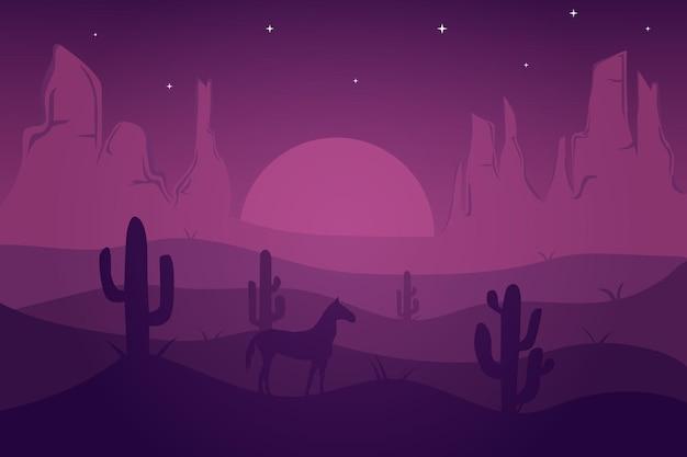 紫の色で美しく見える夜の平らな風景の砂漠