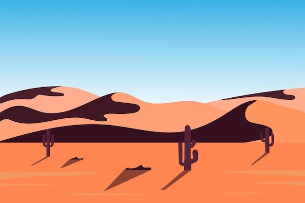 Плоский пейзаж пустыня красивая природа кактус
