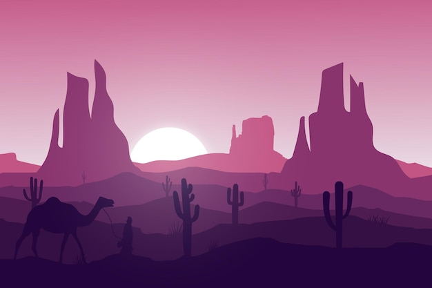 平らな風景砂漠の自然の人々はラクダに乗る