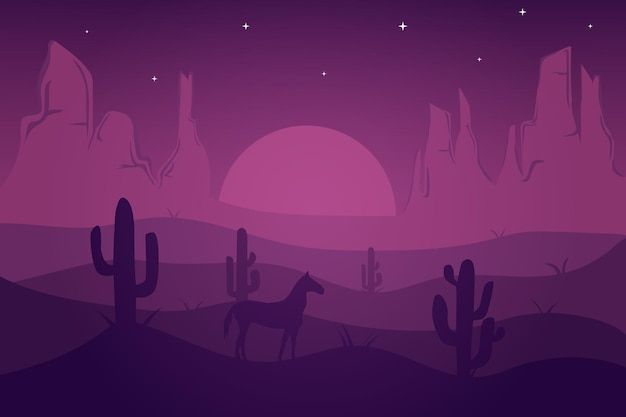 Flat landscape desert at night which looks beautiful with purple color