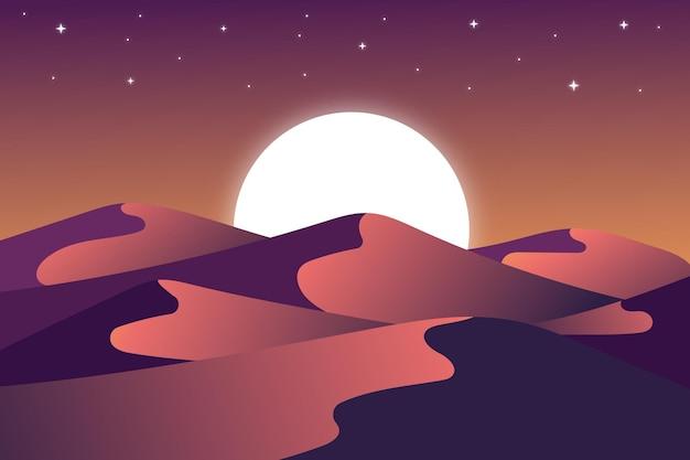 보름달과 맑은 밤에 평평한 풍경 사막
