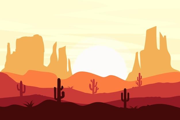 평평한 풍경 사막의 모래 바위는 뜨거운 자연입니다