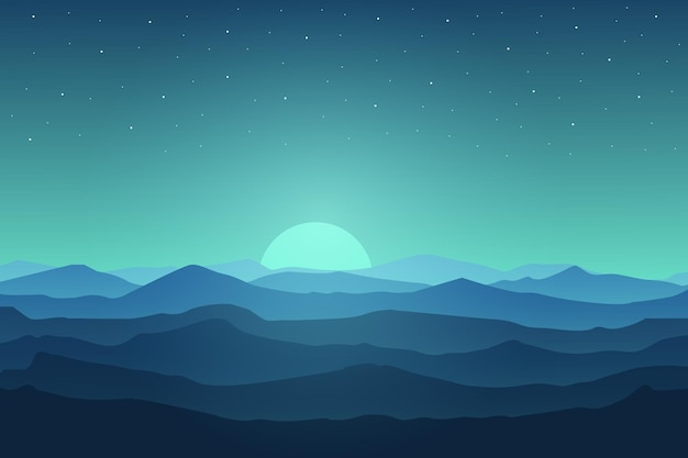 Плоский пейзаж гималаи красивая природа ночью