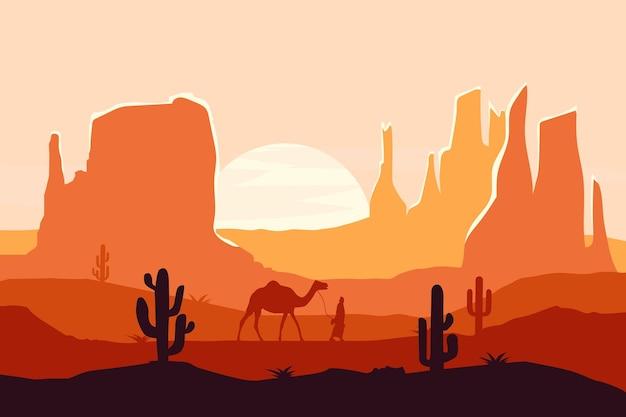平らな風景暑い自然砂漠大きな岩山