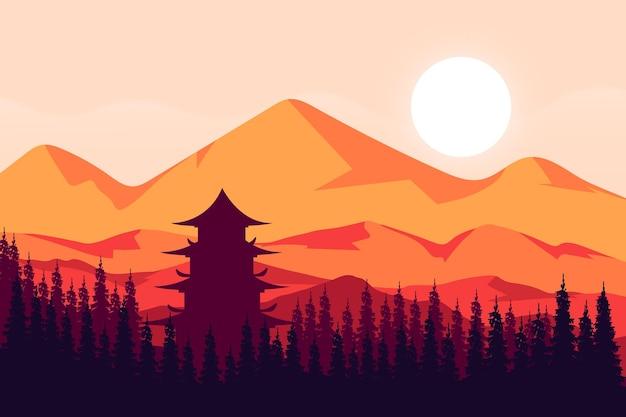평평한 풍경 일본 사원은 산과 자연림에 있습니다