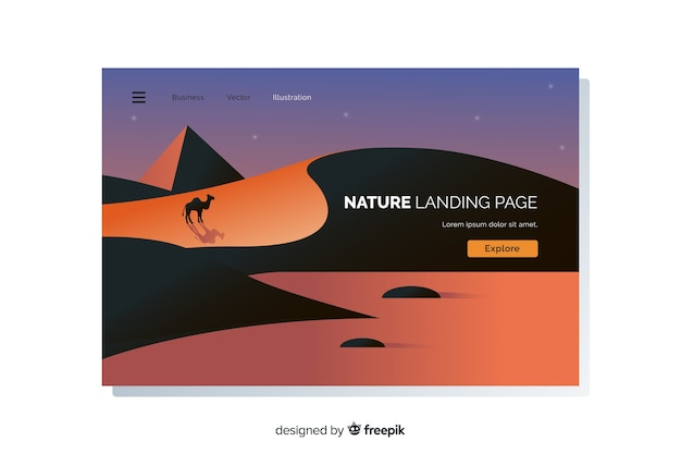 Flat landscape landing page template