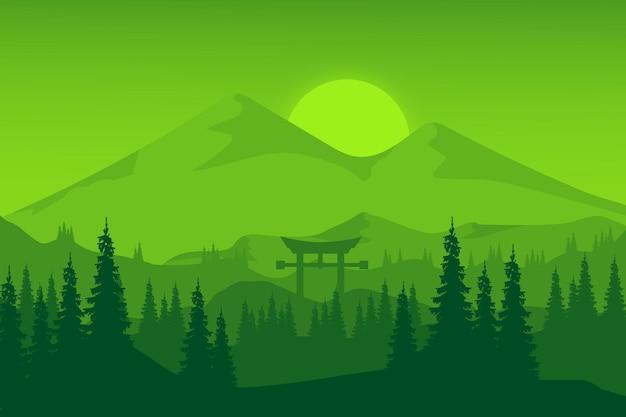 평평한 풍경 무성한 녹색 산 숲 아름다운 녹색 분위기