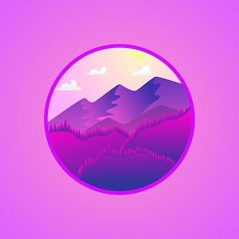 Flat landscape mountain background