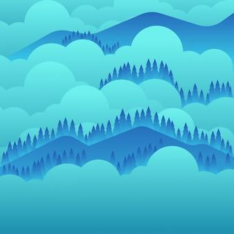 平らな風景の山の背景