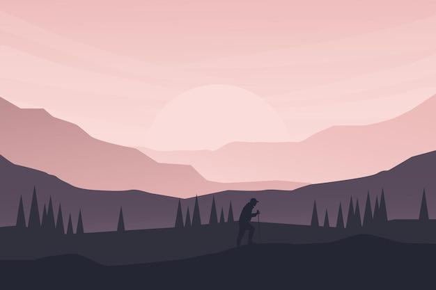 Плоский пейзаж природа альпиниста и яркий свет