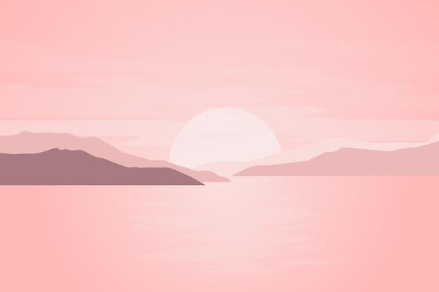 Плоские пейзажи гор и озер красиво смотрятся солнечным утром