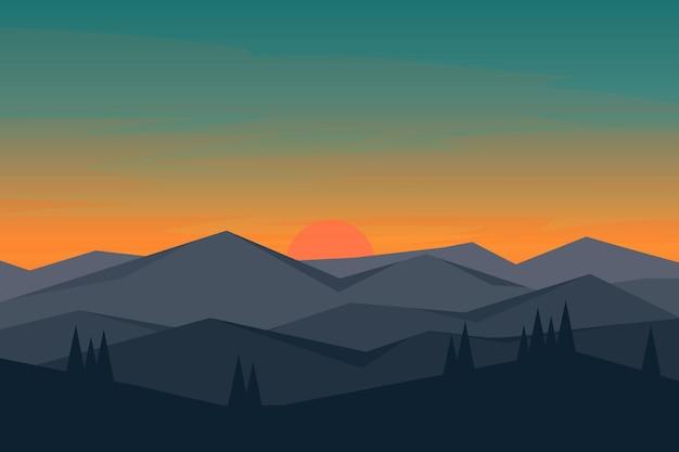 Плоские пейзажные горы на восходе солнца, которые красиво смотрятся с соснами