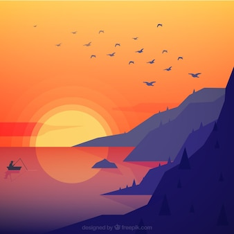 Flat landscape of mountains by the sea