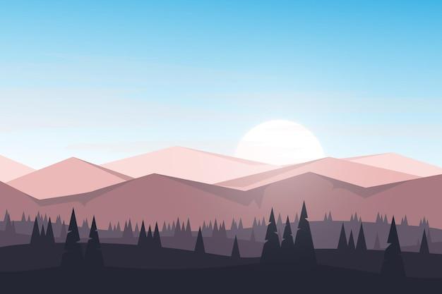 Плоский пейзаж горы утром красивый восход солнца