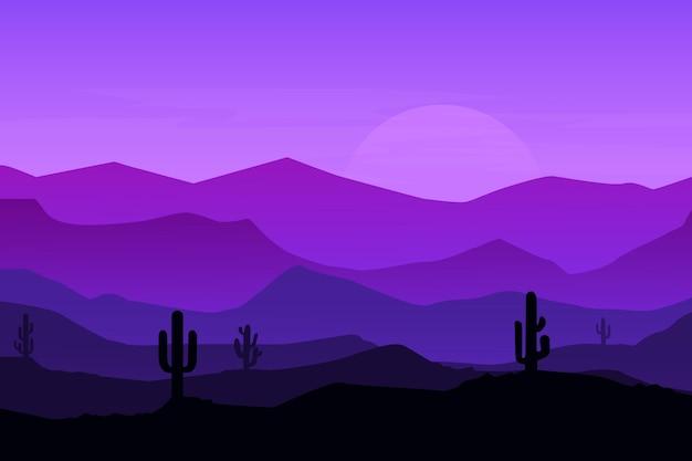 Плоский пейзаж природный кактус горы красивая атмосфера