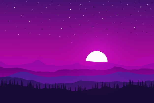 Ровный пейзаж естественных гор и лесов в ясные вечера