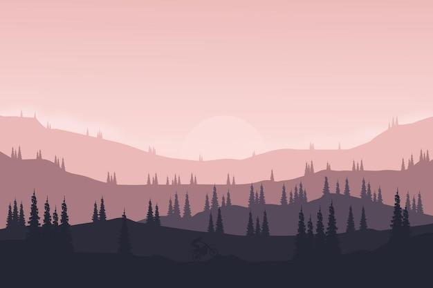 Плоский пейзаж, природные горы и холмы, такие как мотоцикл или малажу в сосновом лесу.