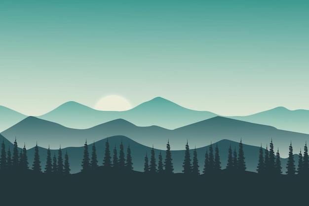 Плоский пейзаж природа зеленые горы ясным вечером