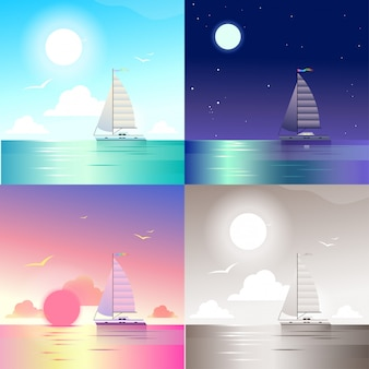 Flat landscape ocean sea yacht summer travel vacation scene set. stylish web banner nature outdoor collection. daylight, night moonlight, sunset view, retro vintage picture sepia.