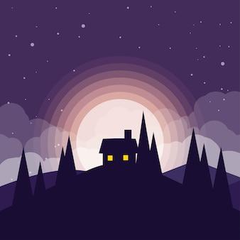 Плоский пейзаж ночи с домом и лунным светом