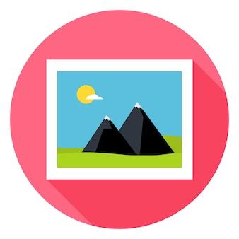 長い影とフラット風景画像サークルアイコン。様式化された写真フラットのベクトル図