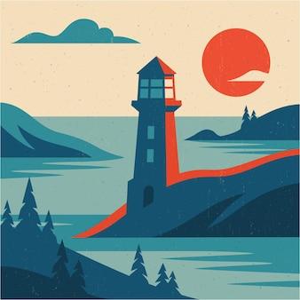 灯台の山と海のフラットな風景画像ベクトル図