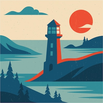 Flat landscape picture with lighthouse mountains and sea vector illustration